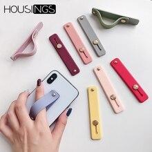 Silício Titular Anel de Dedo Banda Mão Titular Do Telefone Universal Para iPhone Pulseira Strap Push Pull Aperto Estande Doce Cor Suporte