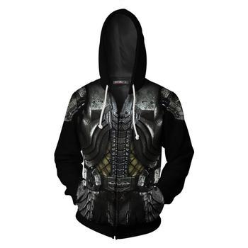 new Men Women Long Sleeve Alien Vs Predator 3D Print Cosplay Costum Casual Hoodies Zipper Jackets Sweatshirts Streetwear Coat stylish alien vs predator shape key ring