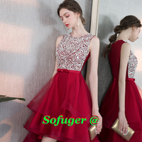 Red Crystals Scoop Homecoming Dress High Low Cocktail Dress Prom Vestidos De Fiesta Formal Special Occasion