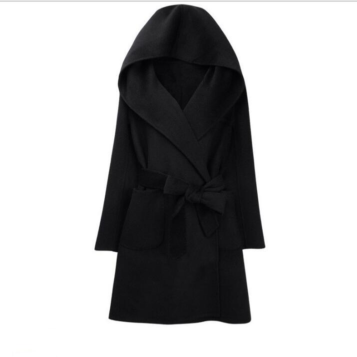 Женская зимняя Водолазка с длинным рукавом, Длинная накидка в английском стиле, винтажное шерстяное пальто, свободная Высокая уличная Роскошная зимняя накидка - Цвет: black color