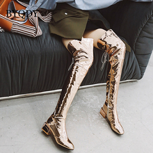 BYQDY Luxury Brand Boots Women Ultra High Heel PU Over-the-Knee High Thick Heels Hook Lace-up Side Zipper Winter Booties Size 48 drop shipping luxury brand women black burgundy lace up front zipper sides soul rockstud glossed leather knee boots size 35 42