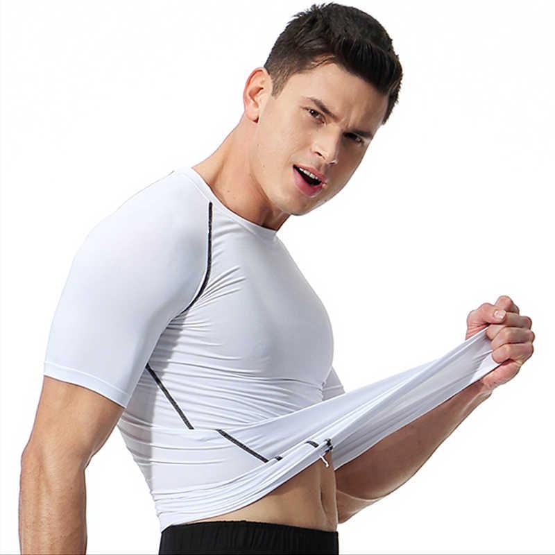 Koşu T-Shirt erkek T-Shirt sıkıştırma Rashguard erkek spor TShirt spor formalar spor Slim Fit T gömlek erkekler hızlı kuru üstleri