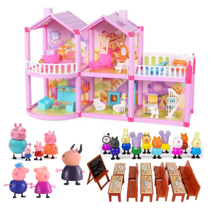 Peppa Pig Little Girl George Family Friends Real Scene Airplane Room Model Camping Diner Action Toy Child Birthday ChristmasGift