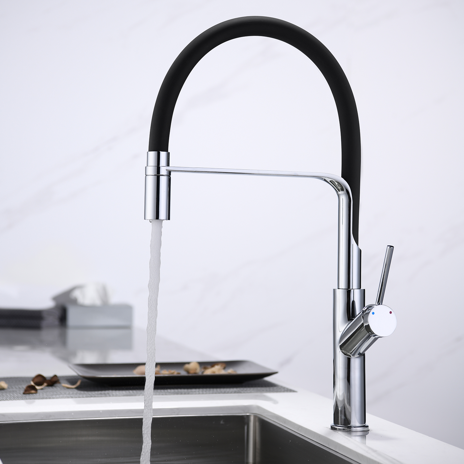 Kitchen Faucet 360 Degree Swivel Basin Faucet Single Lever Silicone Hose Kitchen Water Tap Bathroom Sink Faucet Kitchen Mixer