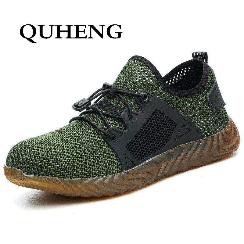 QUHENG/Рабочая безопасная обувь для женщин и мужчин; Уличная обувь со стальным носком; Противоскользящие рабочие ботинки с защитой от проколов