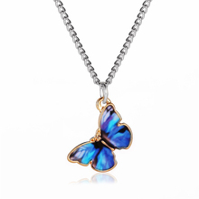 цена на DoreenBeads Fashion Silver Color Butterfly Series Necklace For Women Accessories Ink Blue Butterfly Animal 51cm long, 1 Piece