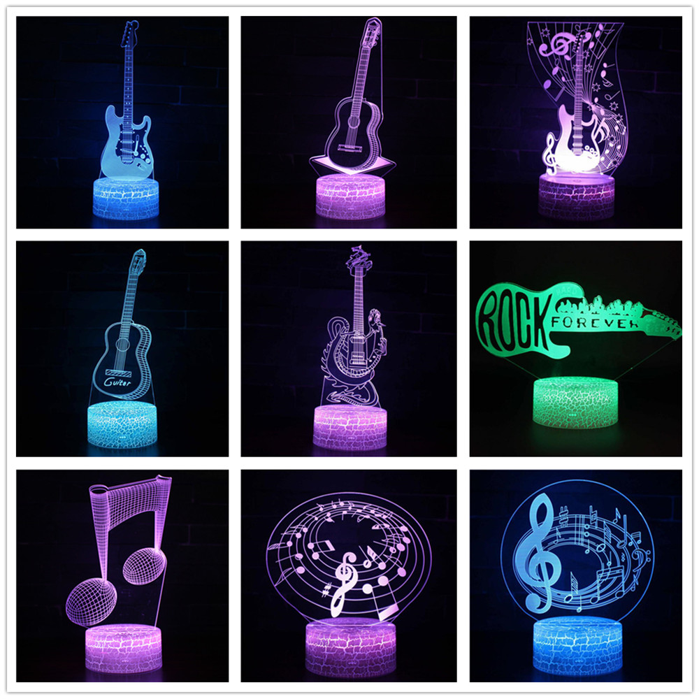 Remote Control Guitar 3D Led Lamp 7 Color Change USB 3d Led Light For Baby Sleeping Nightlight Kids Holiday Gift For Girl Friend