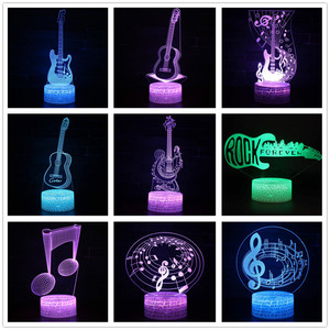 Remote Control Guitar 3D Led Lamp 7 Color Change USB 3d led Light for baby sleeping Nightlight Kids holiday gift for girl friend(China)