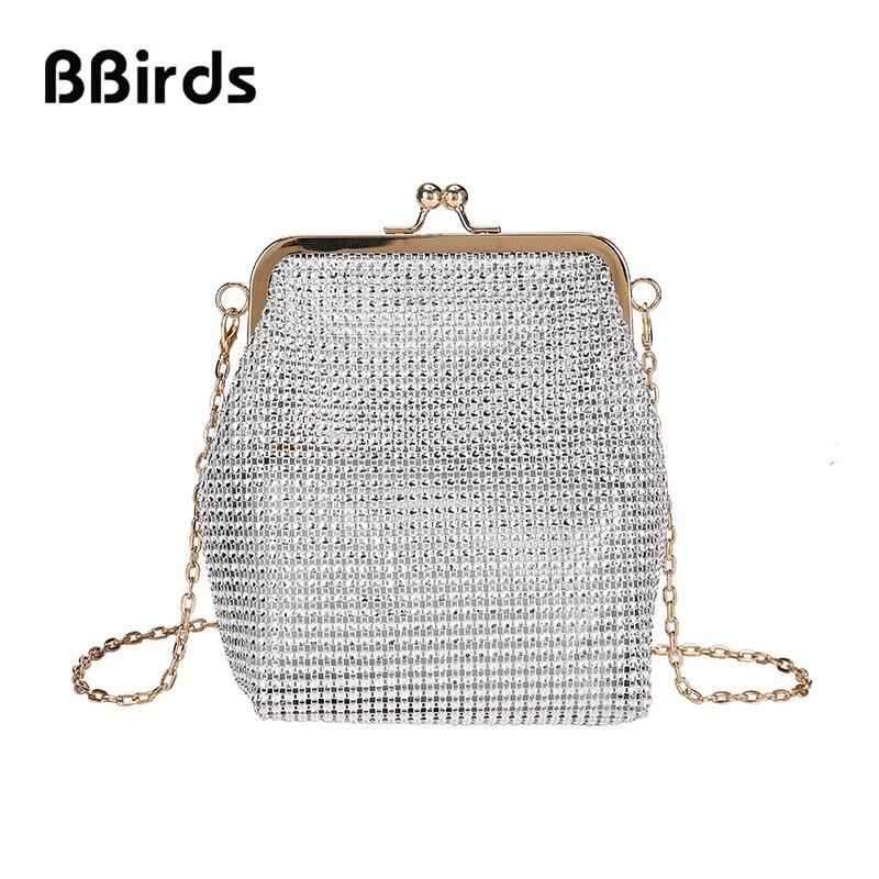 BBirds 2019 New 2 Pieces Diamond Shoulder Bag Fashion Chain Women Messenger Bag Clip Mouth Evening Bag Small Bag Female