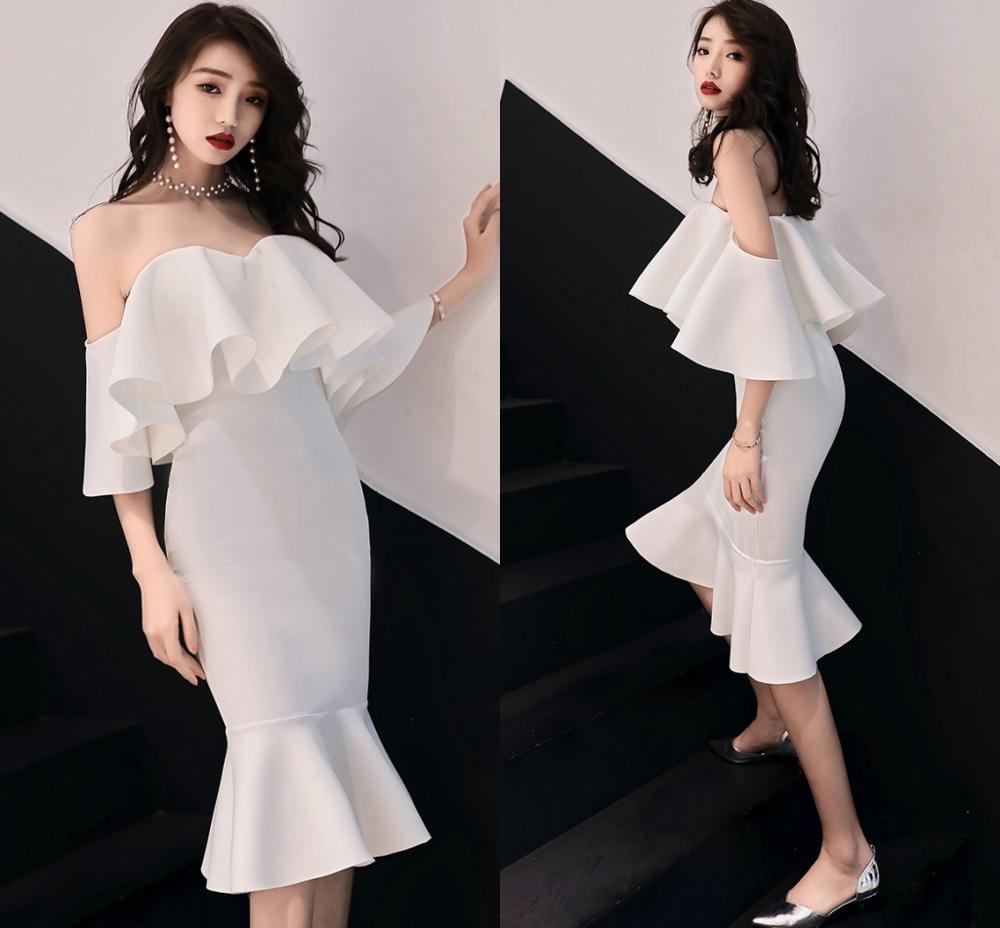 New Short Party Gowns Sexy Off The Shoulder Cocktail Dresses 2020 Knee-Length Robe Cocktail Courte Ruffles Casual Bodycon Dress