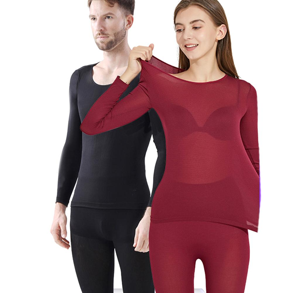 Super Thin Elastic Thermal Underwear Women Men Crew Neck Long Sleeves Top Pants Great for daily or night perfect gifts for lover