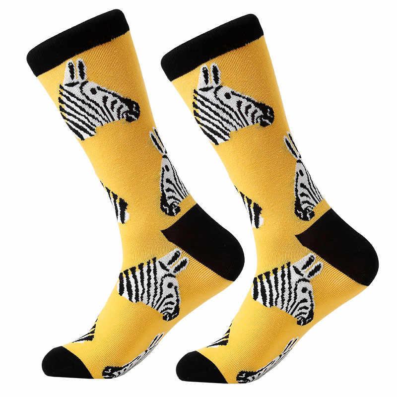 Youyijia 1 Pair erkekler çorap penye pamuk karikatür hayvan kuş köpekbalığı Zebra mısır karpuz deniz ürünleri geometrik yenilik komik çoraplar