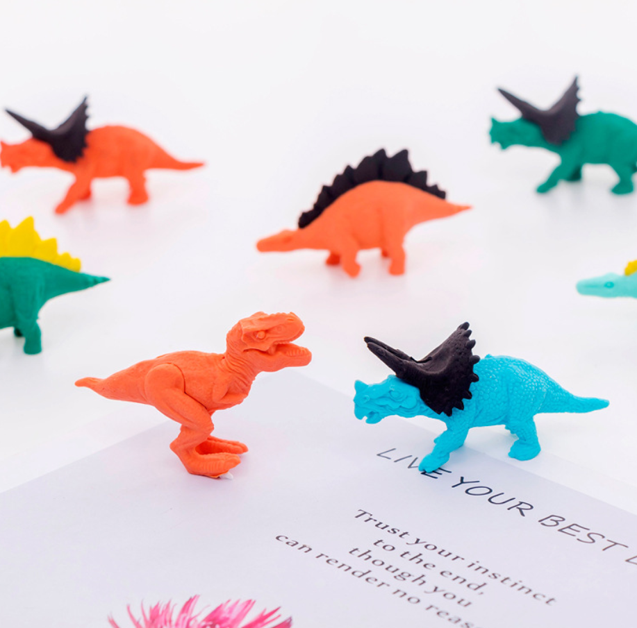 2pcs Dinosaur Cute Rubber Pencil Eraser Stationary School Supplies Items Kawaii Office Cartoon Kids Gift Students Prizes