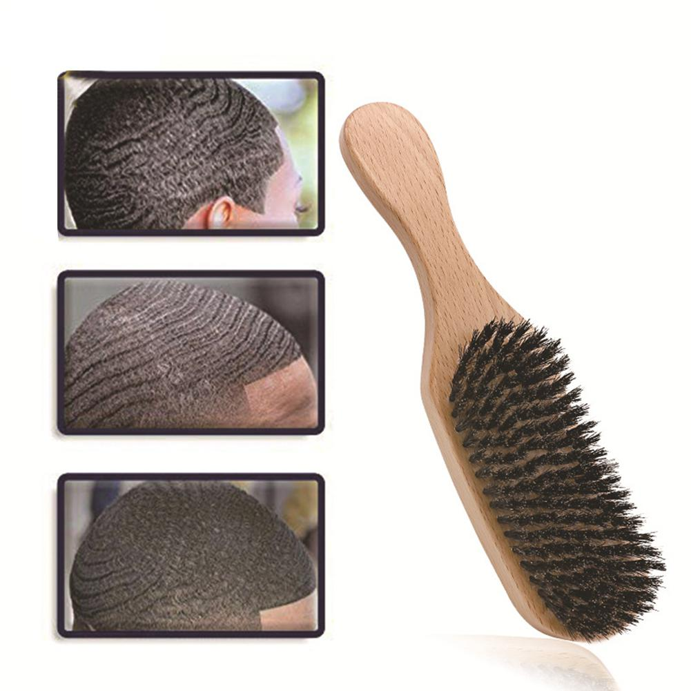 BellyLady 1 Pcs Wood Handle Anti Static Hair Brush Comb Styling Tools Bristle Wave Brush Hair Combs Hair Beard Comb Large Curved