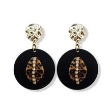 Earrings Copper Accessories Korea Acrylic Personality Pendant Earrings Womens Fashion Jewelry Korean Metallic Geometric Hanging