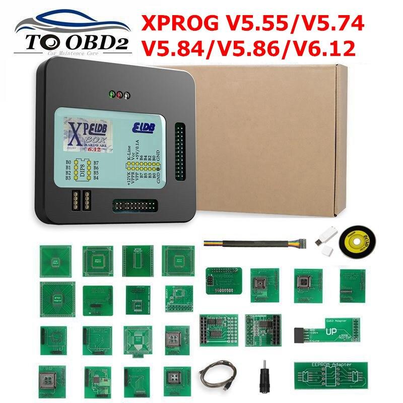 Newest X Prog-M Xprog M V5.55 V5.74 V5.84 V5.86 V6.12 ECU Chip Tunning Programmer X Prog M Box 5.55 XPROG-M Without USB Dongle