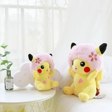 Takara  POKEMON Cherry Blossoms Pikachu Plush Toy Doll Stuffed Kawaii Gift for Girl Friend Hobby Collection