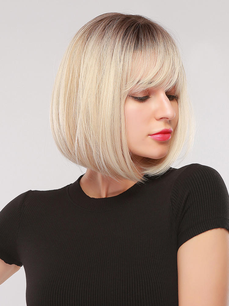 Synthetic Wigs Bangs Short Daily-Hair Afro Brown Cosplay Party Straight-Bob Black Yellow