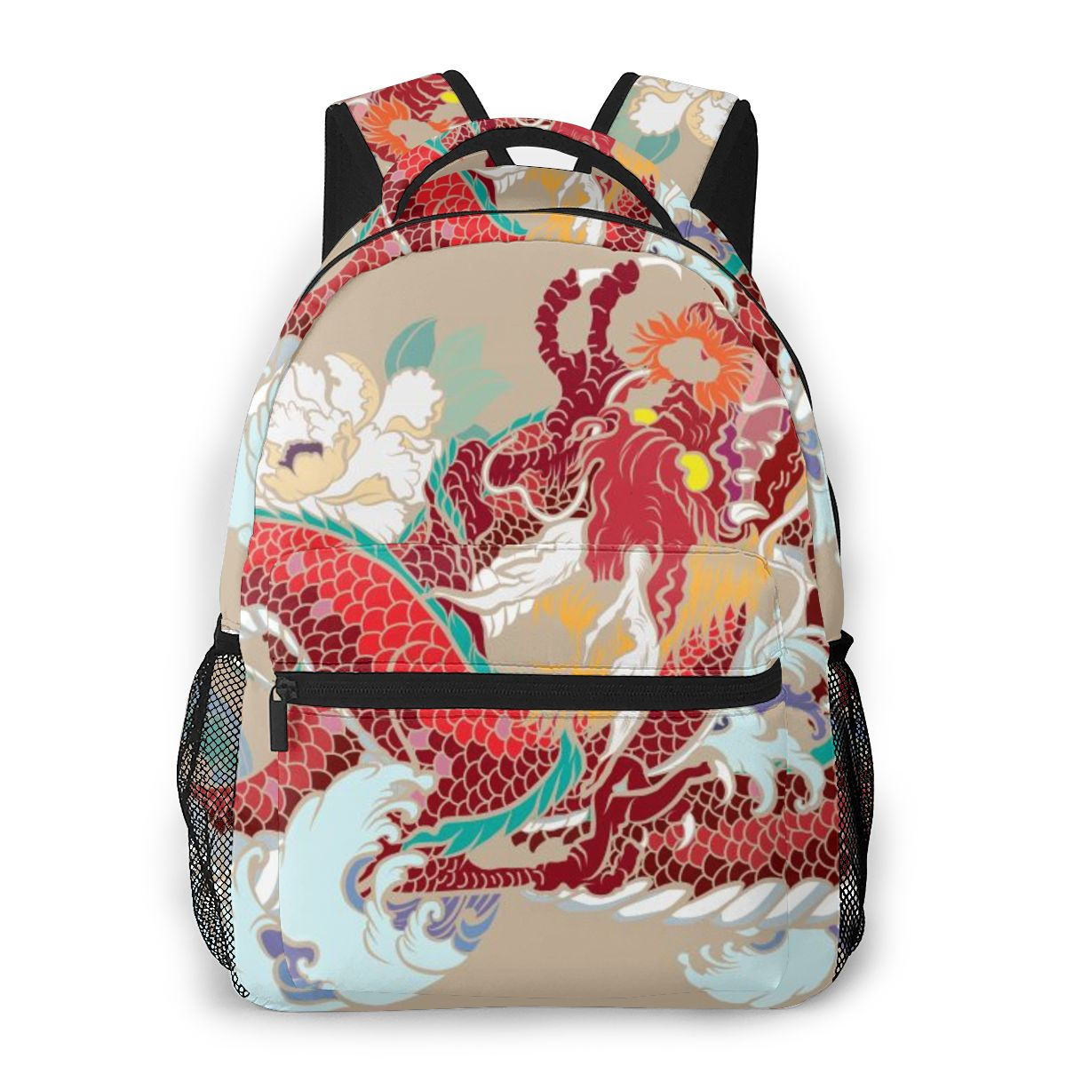 OLN Teenagers Boy Backpack Colorful Dragon And Plum Flower Tattoo Casual Laptop Backpack Student School Bag Backpack