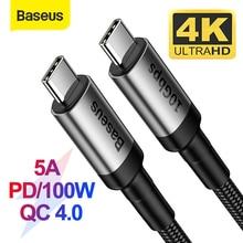 """Baseus USB 3.1 סוג C ל usb סוג C כבל עבור סמסונג S9 S10 Xiaomi טעינה מהירה 4.0 פ""""ד 100W מהיר מטען HDMI כבל עבור MacBook"""
