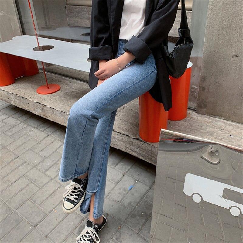 HziriP 2020 Blue Loose Jeans Denim Split Pants Hot Plus Size Solid High Waist All Match Streetwear Woman Casual Wide Leg Pants