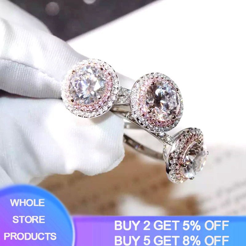 YANHUI Original 925 Solid Silver Ring Wedding Rings For Women Charms Princess Bijoux Pink Stone Bridal Engagement Jewelry XR068
