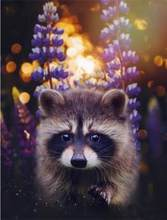 full square round drill diamond embroidery raccoon flower picture,5d diamond painting cross stitch diamond mosaic animal paint(China)