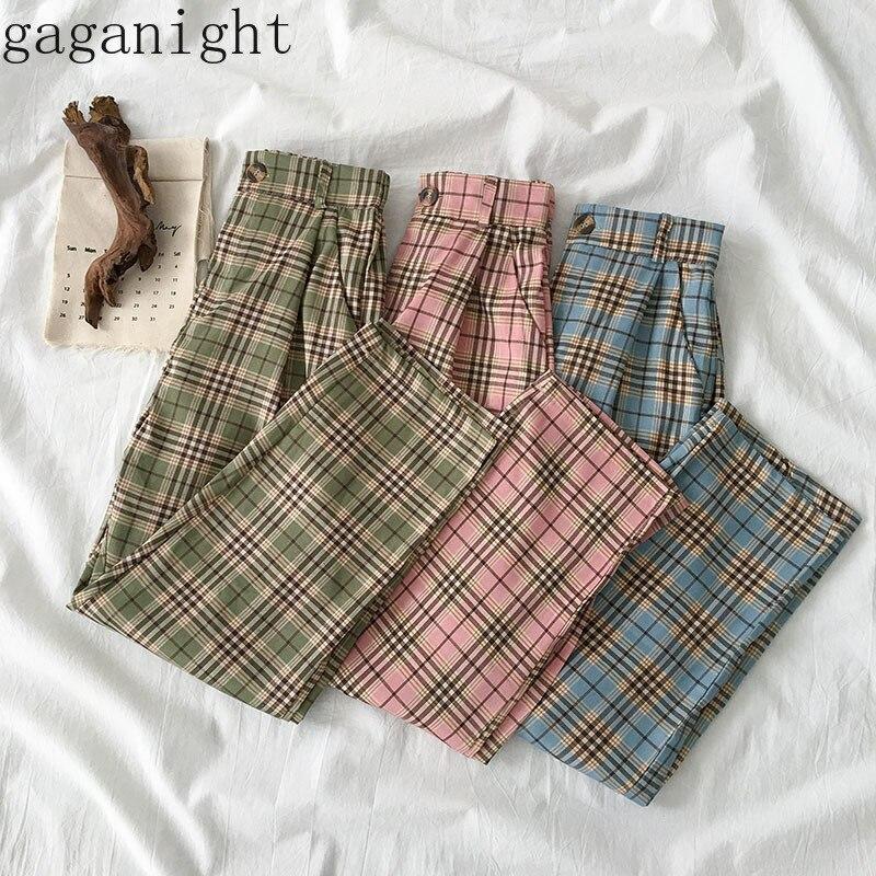 Gaganight Spring Summer Plaid Women Straight Pants Elastic High Waist Casual Loose Korean Trousers Female Fashion Vintage Pant