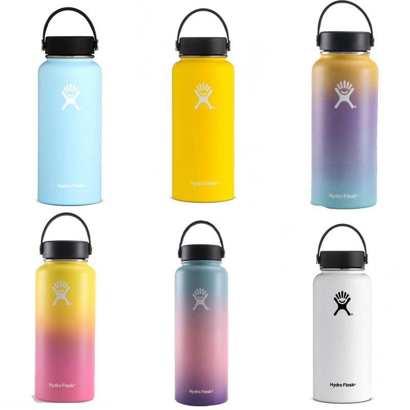 Edelstahl Wasser Flasche Hydro Glaskolben Wasser Flasche Vakuum Isolierte Breiten Mund Reise Tragbare Thermische Flasche 32 unzen/40 unzen