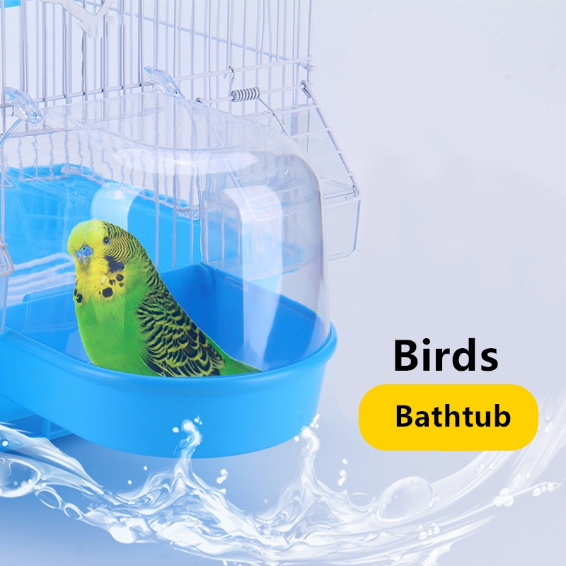 1Pcs Plastic Bird Water Bath Box Bathtub Shower Box Case Parrot For Parakeet Finch Pet Cage Hanging Bowl Birdbath Bird Supplies