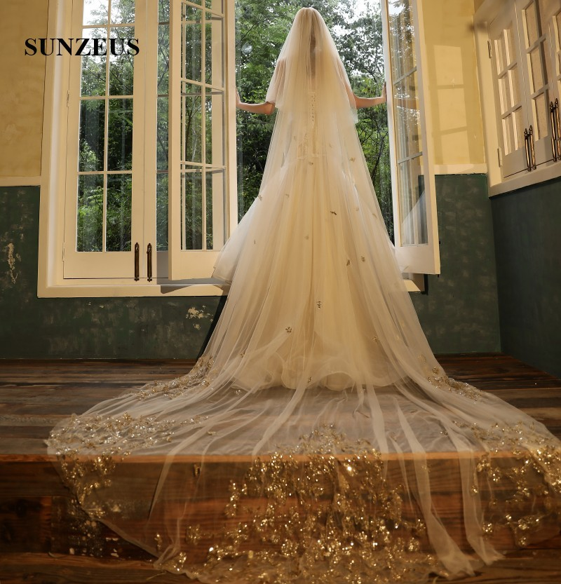 2 Layers Bridal Veil With Comb 4 Meters Ivory/ Champagne Wedding Veils With Gold Appliques Sequins Long Head Veil LVV09