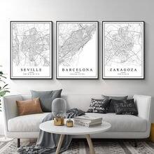 Плакаты с картой испанского города Барселона Мадрид Малага Севилья