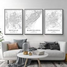 Affiches sur toile de ville espagnole, carte de la ville de londres, madagascar, neville, bali, saragoza, peintures murales, imprimés d'art, décoration intérieure de la maison