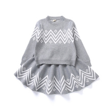 цена на Keep Warm Knitted Clothing Toddlers Kids Clothing Sets Knitted Cardigan 2Pcs Winter Baby Girls Outfits Children Stripe Dress