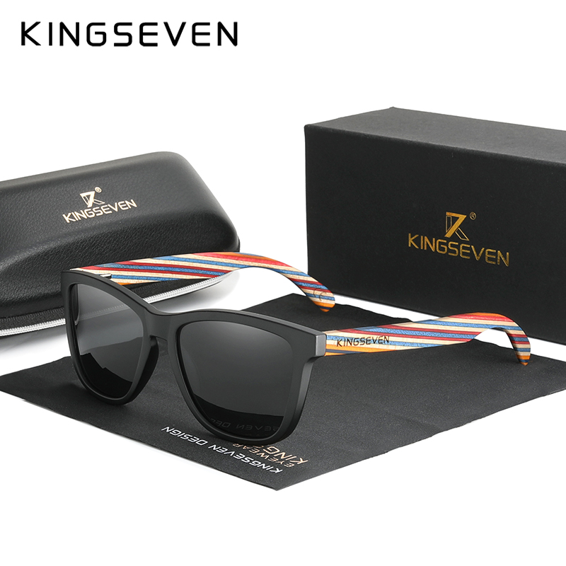 KINGSEVEN Original Design Multi Color Wood Sunglasses Men 2020 Handmade Luxury Fashion Women Mirror Sun Glasses Oculos De Sol