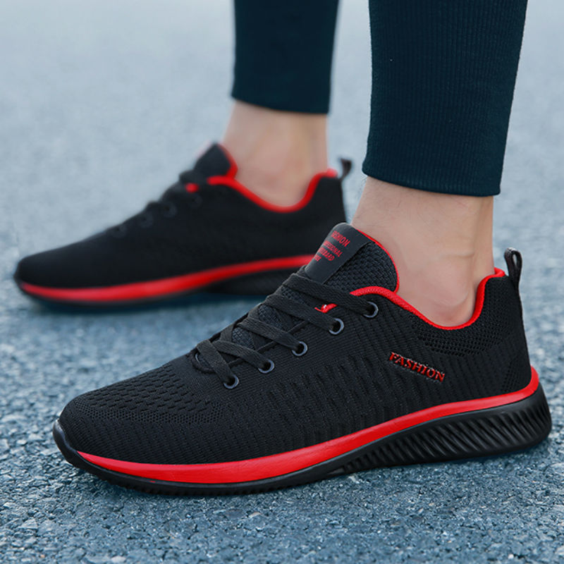 LINGGE New Mesh Men Casual Shoes Lac-up Men Shoes Lightweight Comfortable Breathable Walking Sneakers