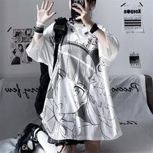 2021 summer white short sleeved female inschao Japanese secondary animation girl print loose Korean T-shirt student top