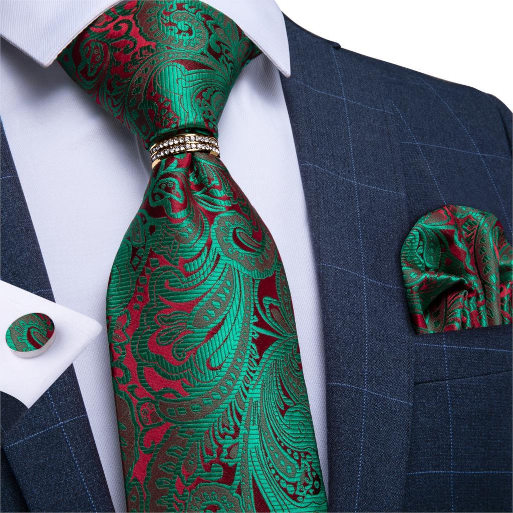 Men Tie Green Red Paisley High Quality Wedding Tie For Men Necktie Ring Hanky Cufflink Silk Tie Set DiBanGu Business JZ03-7280