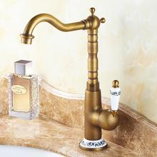 цена на Antique Basin Brass Faucets Bathroom Sink Mixer Deck Faucet Rotate Single Handle Hot And Cold Water Mixer Taps Crane Tap