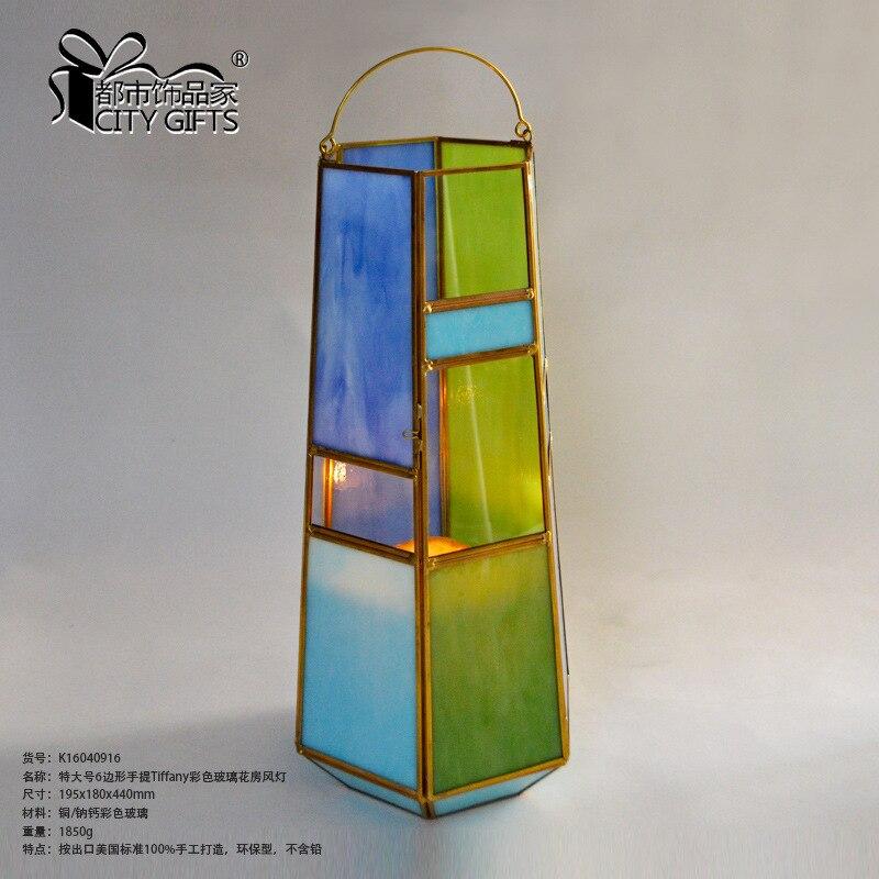 Lanterne de couleur de serre en verre de couleur de main de 6 côtés de décoration à la maison de lanterne de couleur K16040916 - 2