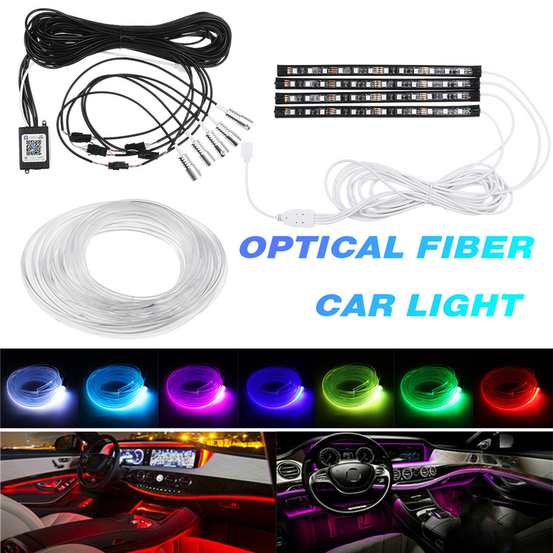 New <font><b>4PCS</b></font> <font><b>RGB</b></font> <font><b>LED</b></font> <font><b>Strips</b></font> Ambient <font><b>Light</b></font> APP bluetooth Control for <font><b>Car</b></font> Interior Atmosphere <font><b>Light</b></font> Lamp DIY Music 8M Fiber Optic Band image