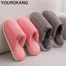 Autumn Winter Men Shoes Home Slippers Indoor Bedroom Floor Lovers Flip Flops Non-slip Corduroy Couple Shoes Unisex Plush Slipper fayuekey sweet spring summer autumn winter home fashion plush slippers women indoor floor flip flops for girls gift flat shoes