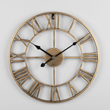 Retro Iron Large Wall Clock Roman Vintage Quartz Wall Clocks Kitchen Watch Livingroom Bedroom Home Decorations