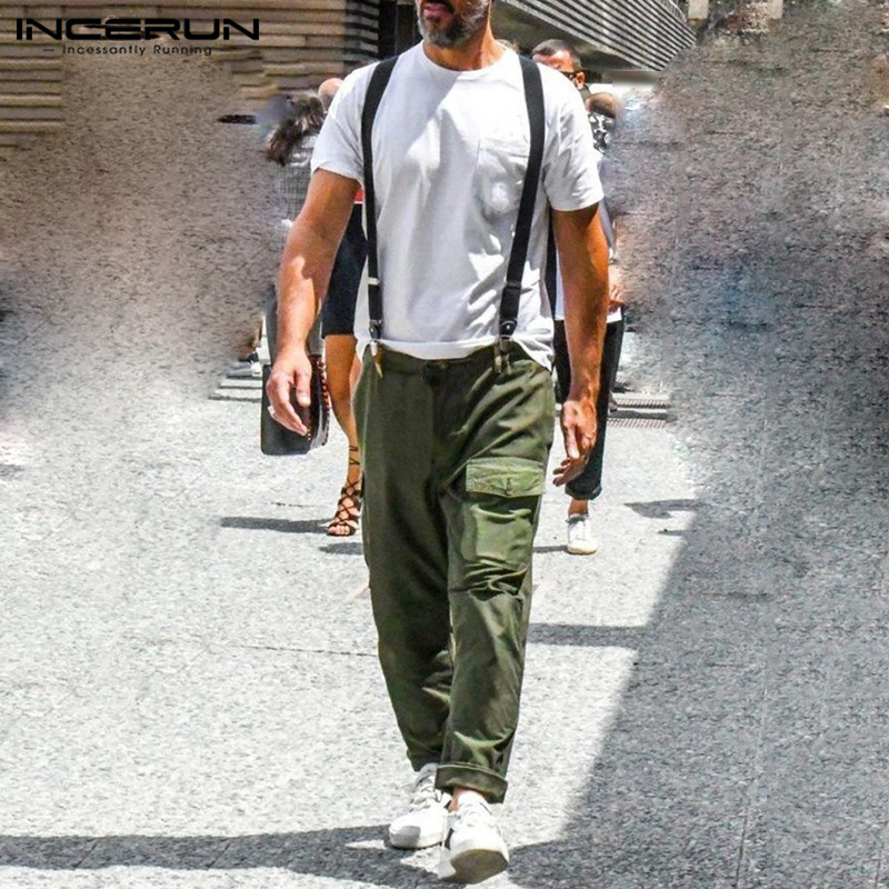 INCERUN Mens Cargo Pants Rompers Solid Pockets Button Straps Stylish Baggy Trousers Men Casual Jumpsuit Streetwear 2020 S-5XL
