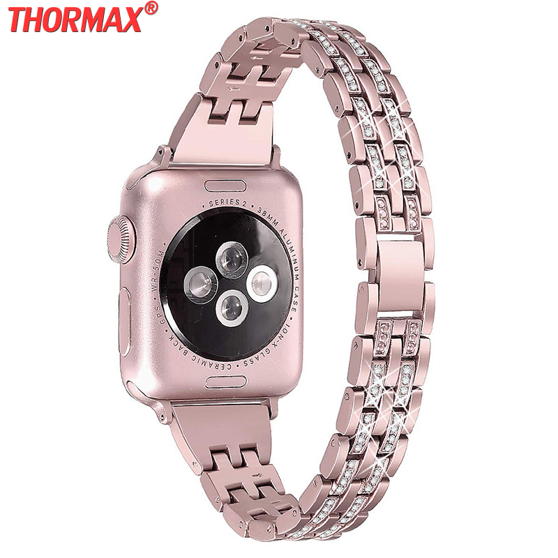 Diamond WatchBand for Apple Watch 38mm 40mm 42mm 44mm Bracelet women Stainless steel Strap iWatch band Series 5 4 3 2 rose pink image