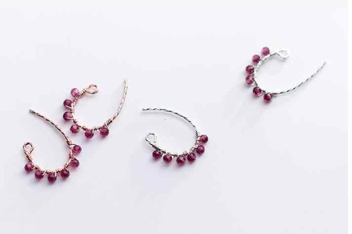 Настоящее подлинное серебро 100% 925 пробы, хорошее ювелирное изделие, Геометрическая огранка, красный гранат, полукруглый камень, серьги для ушей GTLE2559