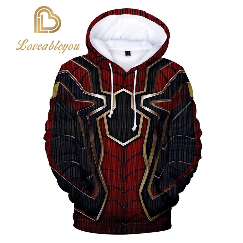 Iron Spiderman Hoodie Anime Gaming Men 3D Print Streetwear Hip Hop Punk Hoodie Hoody Streetwear Black Jacket Christmas Gifts