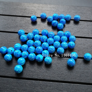 Image 5 - 100 יח\חבילה 6mm סינטטי עגול כדור אופל חרוזים כחול עגול אופל אבן מחיר עבור צמיד & שרשרת