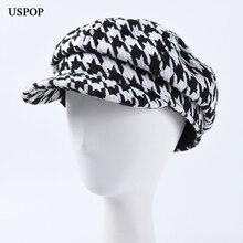 USPOP 2019 Winter autumn hats women plaid newsboy caps unisex vintage men visor octagonal cap