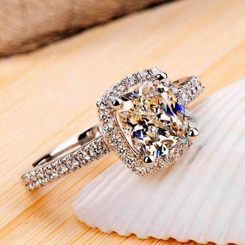 Luxo feminino cristal zircon pedra anel boho 925 prata branco rosa amarelo anel promessa amor anéis de noivado para mulher
